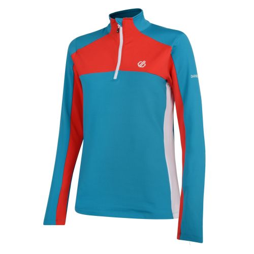 Women's Default Core Stretch Half Zip Midlayer - Freshwater Blue Lollipop Red